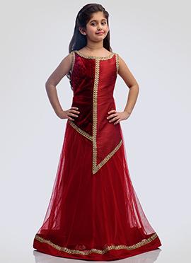 K N U Maroon Art Silk N Velvet Kids Anarkali Gown