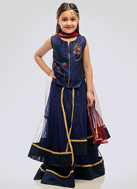 K N U Navy Blue Kids Long Choli A Line Lehenga