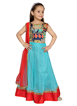 K N U Net Kids Sky Blue Lehenga Choli