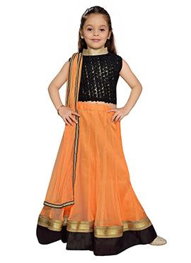 K N U Orange Net Kids Lehenga Choli