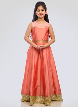 K N U Peach Taffeta Silk Kids Anarkali Gown