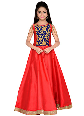 K N U Red Kids Anarkali Gown