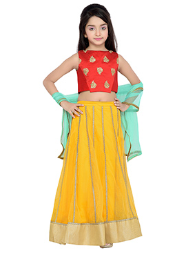 K N U Red N Yellow Kids A Line Lehenga Choli