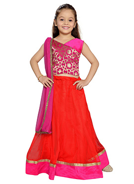 K N U Red Net Kids Lehenga Choli