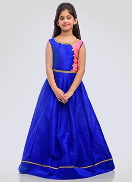 K N U Royal Blue Art Silk Kids Anarkali Gown
