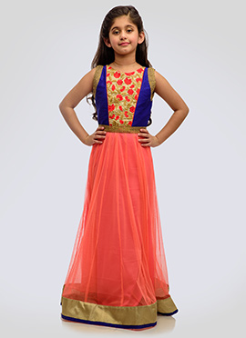 K N U Royal Blue N Peach Kids Anarkali Gown