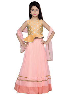 K N U Royal Blue N Pink Kids A Line Lehenga Choli
