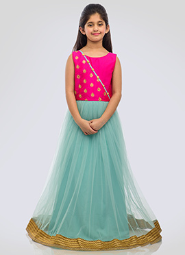 K N U Sea Green N Fuchsia Pink Kids Anarkali Gown