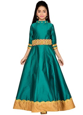 K N U Teal Green Kids Anarkali Gown