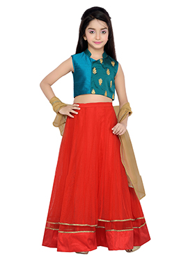 K N U Teal N Red Kids A Line Lehenga Choli