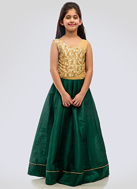 K N U Tricolored Kids Anarkali Gown