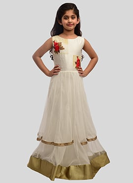 K N U White Art Silk N Net Kids Layered Anarkali Gown