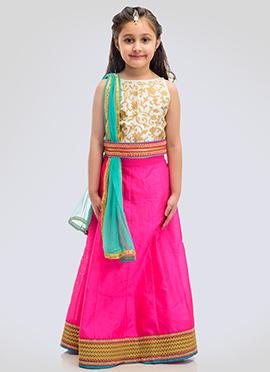 K N U White N Pink Kids A Line Lehenga Choli