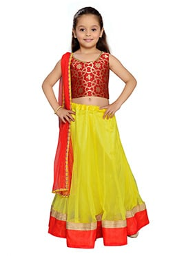 K N U Yellow Kids Lehenga Choli