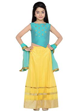 K N U Yellow N Turquoise Blue Kids A Line Lehenga Choli