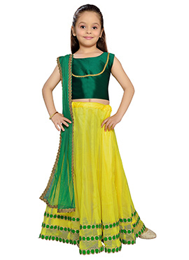 K N U Yellow Net Kids Lehenga Choli