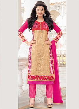 Kajal Agarwal Beige N Pink Georgette Straight Pant Suit