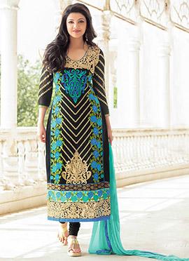 Kajal Agarwal Black Georgette Straight Suit