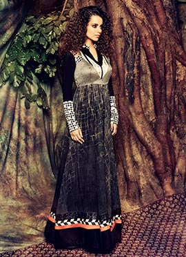 Kangana Ranaut Grey N Black Anarkali Suit