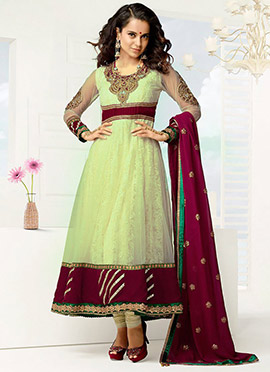 Kangana Ranaut Cream Net Anarkali Suit