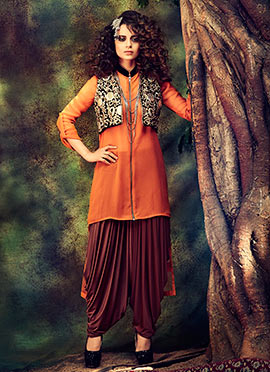 Kangana Ranaut Orange Georgette Patiala Set