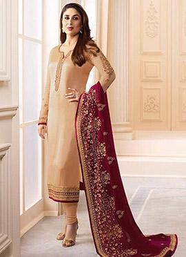Kareena Kapoor Cream Georgette Straight Suit