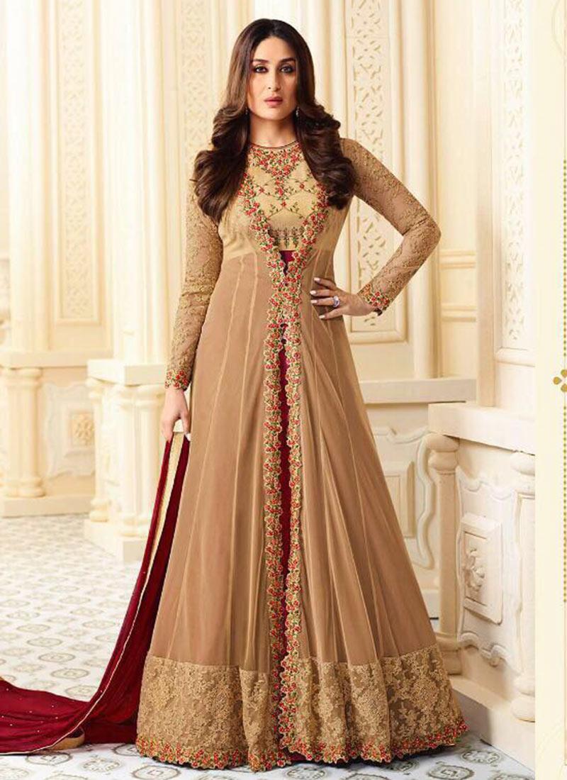 Buy Kareena Kapoor Beige N Maroon Anarkali Suit ...