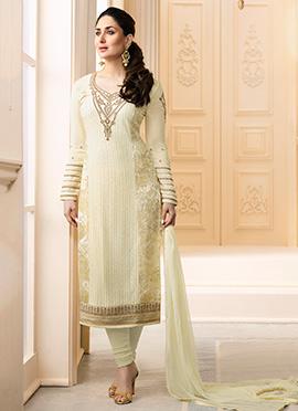 Kareena Kapoor Cream Georgette Churidar Suit