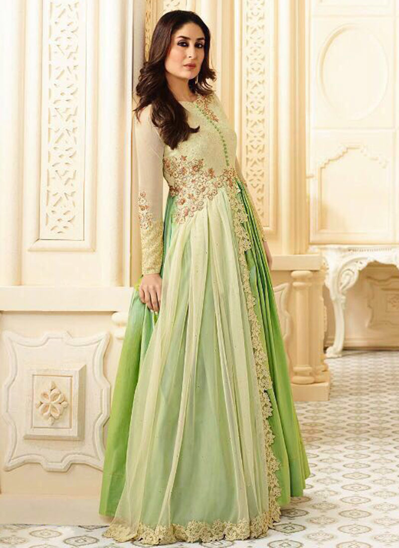 Kareena Kapoor Dark Green Raw Silk Anarkali Gown Suit  |Kareena In Green Anarkali Dress