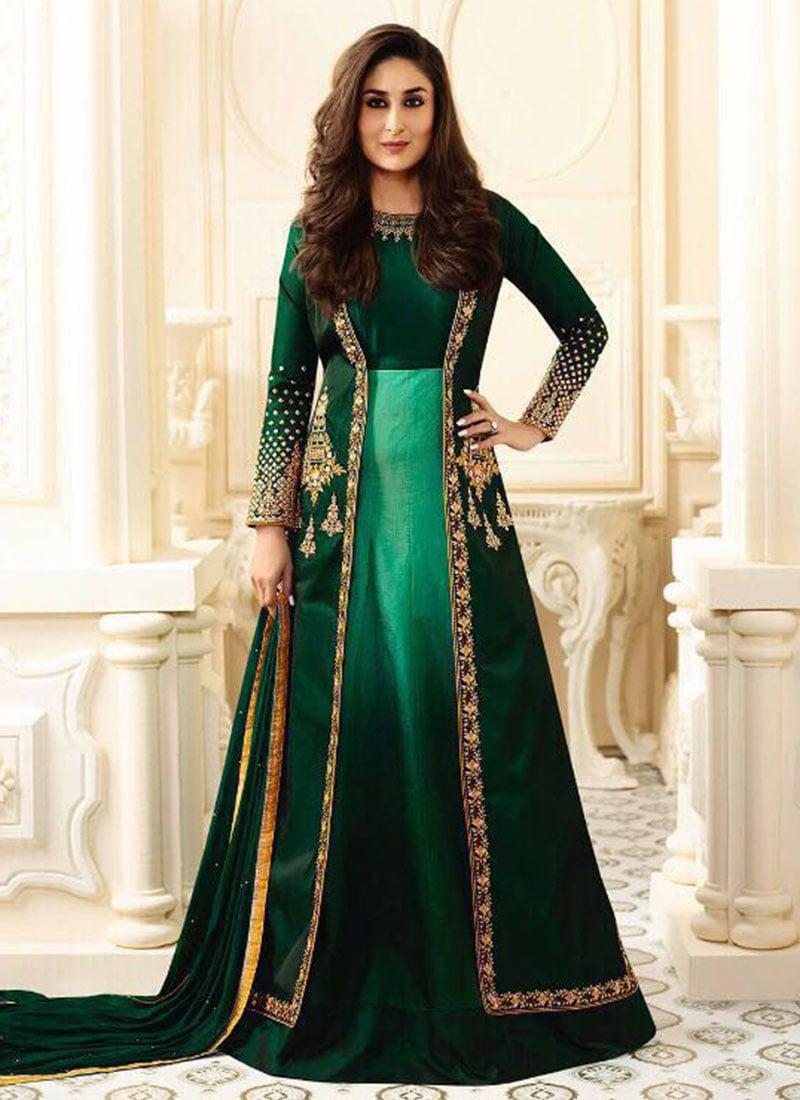 Kareena Kapoor Silk and Georgette Anarkali Suit In Green ...  |Kareena In Green Anarkali Dress