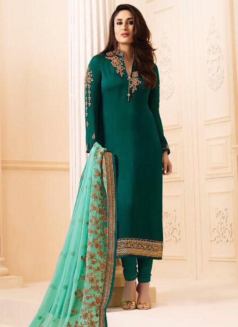 Buy Kareena Kapoor Green Georgette Straight Suit