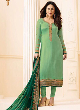 Kareena Kapoor Green Georgette Straight Suit