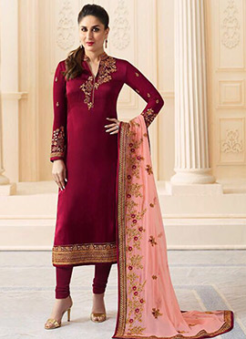 Kareena Kapoor Maroon Georgette Straight Suit
