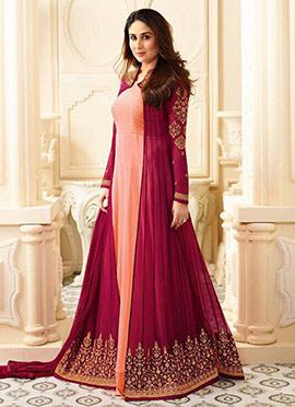 Kareena Kapoor Peach N Maroon Anarkali Suit