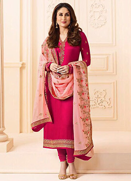 Kareena Kapoor Pink Georgette Straight Suit