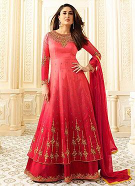 Kareena Kapoor Red Georgette Umbrella Lehenga