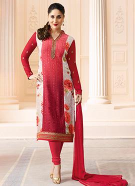 Kareena Kapoor Red N White Churidar Suit