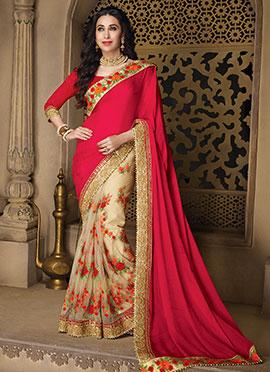 Karishma Kapoor Beige N Pink Half N Half Saree