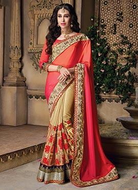 Karishma Kapoor Beige N Red Half N Half Saree