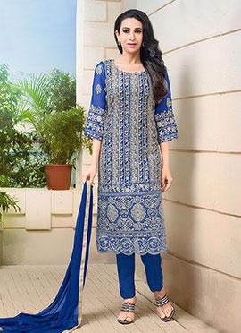 Karishma Kapoor Blue Straight Pant Suit