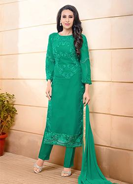 Karishma Kapoor Green Straight Pant Suit
