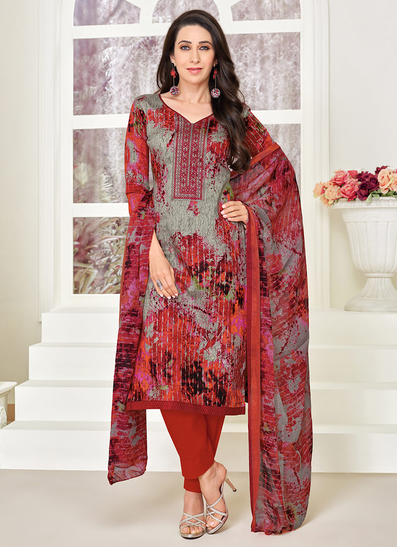 21c3404a05 Buy Karishma Kapoor Grey N Red Straight Pant Suit, Printed, straight ...