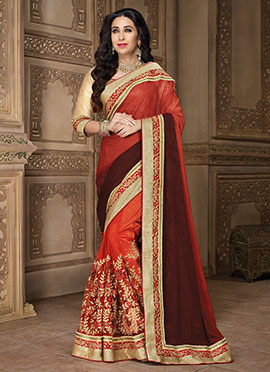 Karishma Kapoor Orange Half N Half Saree