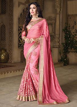 Karishma Kapoor Pink Georgette N Net Saree