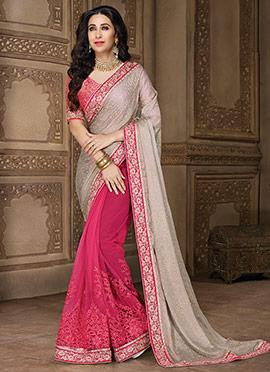 Karishma Kapoor Pink N Grey Half N Half Saree