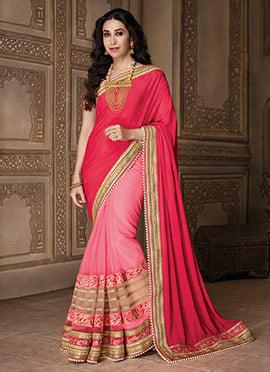Karishma Kapoor Pink Half N Half Saree