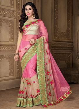 Karishma Kapoor Pink Net Saree