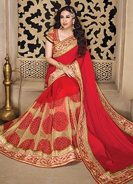 Karishma Kapoor Red Half N Half Saree