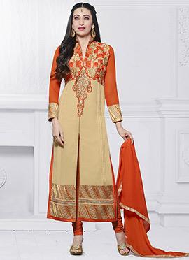 Karisma Kapoor Beige N Orange Straight Suit