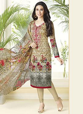 Karisma Kapoor Beige Cotton Churidar Suit